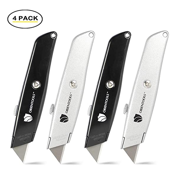 ORIENTOOLS Utility Knife Box Cutter Heavy Duty Retractable,4-Pack, 3 Position Locking Blade, Black and Silver (Color: Silver&black, Tamaño: 4 Pack)