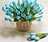 25 Blue Cyan Tulips Flower Scrapbooking Craft Mulberry Paper Wedding Card Making
