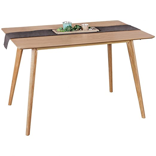 WOHNLING table à manger 120 x 76 x 80 cm en bois MDF | Table à manger avec plateau de table carrée | table de cuisine robuste dans un style rétro | Table en bois design scandinave | Table en placage de chêne