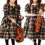 (キャサリンコテージ)Catherine Cottage 子供ドレス 2WAYチェック編み上げワンピース CC0044 110cm ブラウン