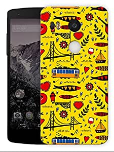 """Humor Gang Abstract City Life Pattern - YellowPrinted Designer Mobile Back Cover For """"Lg Google Nexus 5X"""" (3D, Matte, Premium Quality Snap On Case)..."""