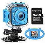 VanTop Junior K3 Kids Camera, 1080P Supported Waterproof Video Camera w/ 16Gb Memory Card, Extra Kid-Proof Silicon Case (Color: Blue)