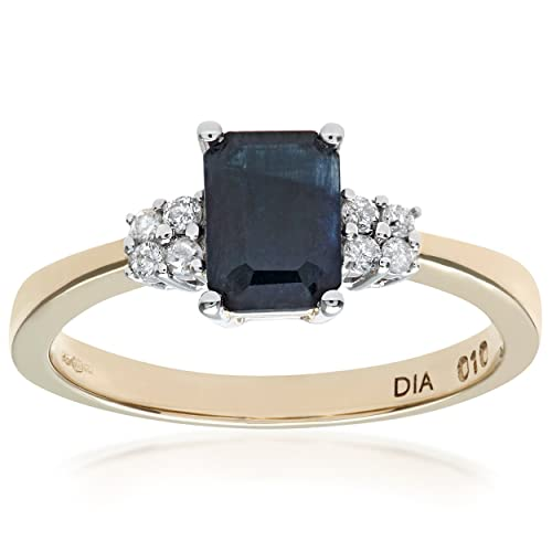 Naava 9ct Yellow Gold Sapphire Ring With Diamond Shoulders