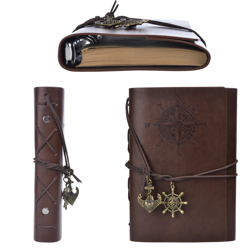 Cosmos Vintage Classic PU Leather Notebook for Diary, Travel journal and Note, Dark Brown (NB2) 4