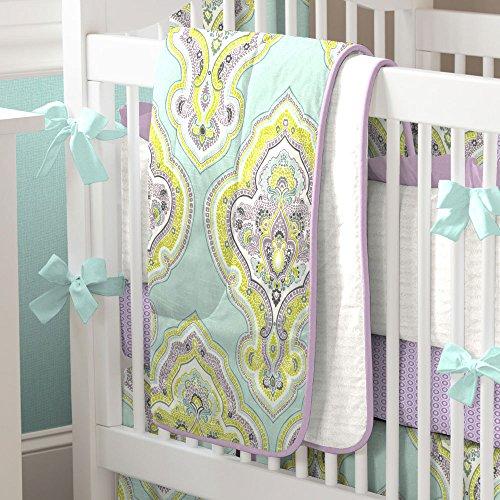 Good Carousel Designs Aqua and Amethyst Laval Three piece Crib Bedding Set