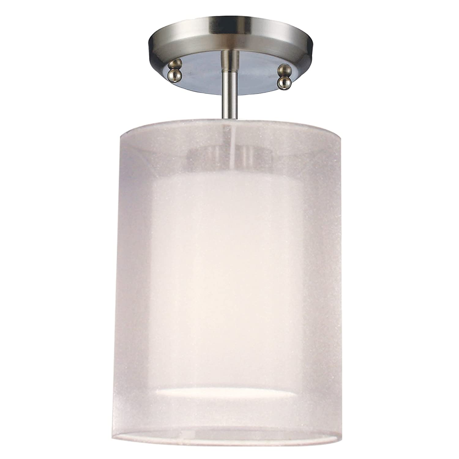 Z Lite 144 6w Sf Nikko One Light Semi Flush Mount Metal Frame Brushed Nickel Finish And White Shade Of Organza Material Find Best Cheap Hoangnam20082