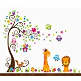 DEKOSH Kids Jungle Theme Peel and Stick Wall Decal, Colorful Owl Giraffe Lion Tree Decorative Unisex Sticker for Children Bedroom, Nursery, Playroom M