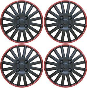 14″ Black & Red Wheel Covers Hub Caps Set Of 4 Pieces Universal Set WC8BK