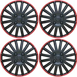 14″ Black & Red Wheel Covers Hub Caps Set Of 4 Pieces Universal Set WC8BK