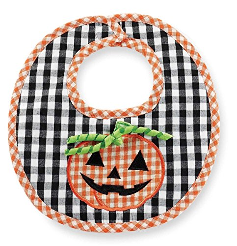 Mud Pie Boys Halloween Gingham Pumpkin Bib, Multi, One-Size front-570359