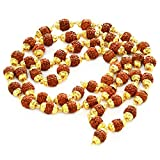 Odishabazaar Rudraksha Rudraksh 5 Mukhi Japa Mala Rosary With Golden Cap Hindu MeditationYoga