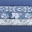 Fat Quarter Fabric Bundle. Navy Blue and White Printed Fabrics. 5 Pure Cotton Pieces of Fabric. Patchwork, Quilting, Sewing.