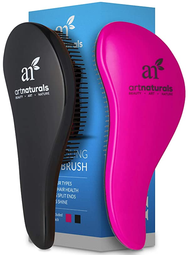 ArtNaturals Detangling Hair Brush Set - (2 Piece Gift Set - Pink & Black) - Detangler Comb for Women, Men and Kids - Wet & Dry – Removes Knots and Tangles, Best for Thick and Curly Hair – Pain Free (Color: Pink and Black)