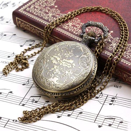 ALIENWOLF Unisex Antique Case Vintage Brass Rib Chain Quartz Pocket Watch 2