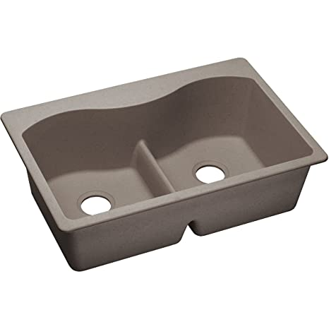 "Elkay ELGLB3322GR0 Granite 33"" x 22"" x 9.5"" Double Bowl Top Mount Kitchen Sink, Greige"