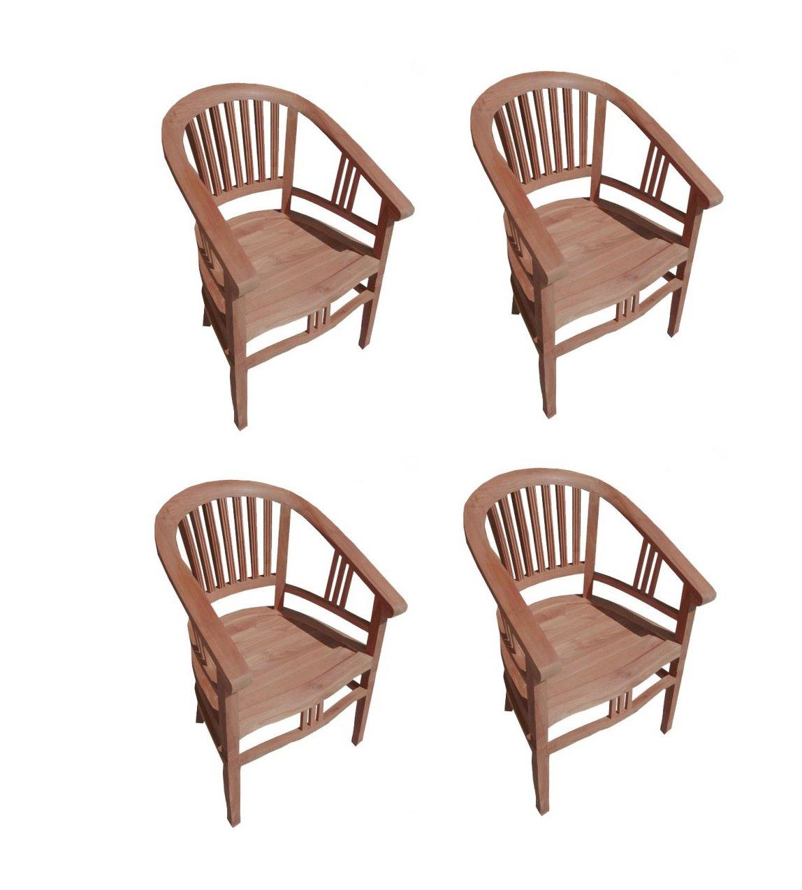 4er Spar-Set Gartenstuhl Sessel aus Teak Holz mit Armlehnen Moreno günstig kaufen