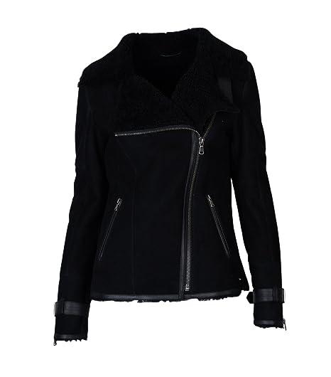 Damen TIGHA Lederjacke Luana mit Lammfell schwarz - black