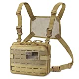 WYNEX Tactical Molle Admin Pouch of Laser Cut Design, Utility Pouches Molle Attachment Military Medical EMT Organizer with Map Pocket EDC EMT Pack IFAK Tool Holder Universal U.S.A Patch Included (Color: Khaki + Harness)