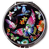 Compact Makeup Mirror Cosmetic Korean Mother Of Pearl Lacquered Butterflies Black A #3