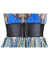 "Modeway® Women's Leather 3""wide Elastic Stretch Cinch Waist Belt, Metal Buckle Fashion Waistband"