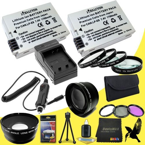 58Mm Macro Close Up Kit + Wide Angle + 2X Telephoto Lenses + 3 Piece Filter Kit For Canon Eos Rebel T3I With Canon 75-300Mm Lens + Two Halcyon Lp-E8 Batteries And Charger For Canon Eos Rebel T3I Starter Bundle