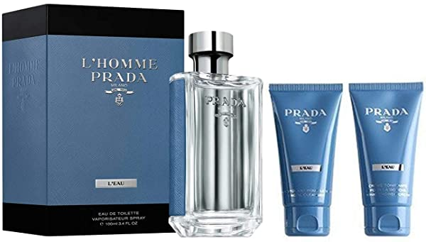 Prada L'Homme L'eau Men 3 Pieces Travel Set (3.4 Eau De Toilette Spray /2.5 Facial Cleanser/2.5 Shower Cream) (Tamaño: Travel set)