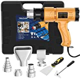 Heat Gun, SEEKONE 1800W Heat Gun Kit With Carry Case, Variable Temperature Control with 2-Temp Settings 4 Nozzles 122?~1202?(50?- 650?)with Overload Protection for Crafts, Shrinking PVC (Color: Yellow)