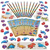 Dinosaur Set, Included 12 Dinosaur Pencils, 36 Dinosaur Erasers, 144 Dinosaur Stickers And 12 Dinosaur Tattoos...