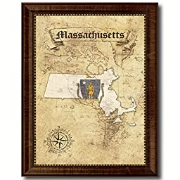 Massachusetts State Vintage Map Flag Art Custom Picture Frame Office Wall Home Decor Cottage Shabby Chic Gift Ideas