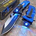 TAC-FORCE Blue POLICE Spring Assisted Open LED Tactical Rescue Pocket Knife