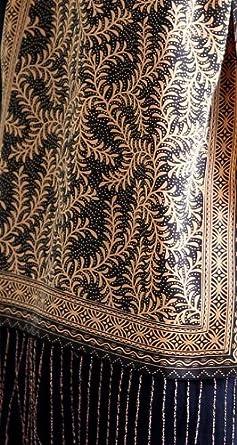 Silk batik scarf, 'Black Fern' - Unique Women's Leaf and Tree Silk Scarf