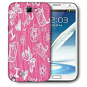 Snoogg I Love You Pink Pattern Printed Protective Phone Back Case Cover For Samsung Galaxy Note 2 / Note II