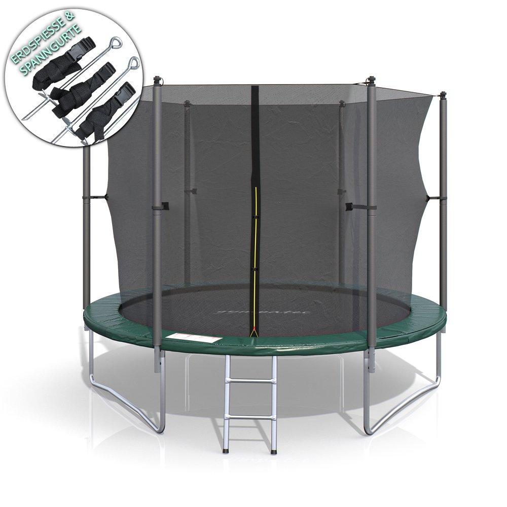 XL Trampolin 244 cm Gartentrampolin Komplettset mit Netz innenliegend Leiter Erdanker Spanngurte Abdeckung jetzt bestellen