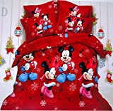 Amk Home Décor Micky Mouse Kids Cotton Double Bedsheet With 2 Pillow Covers, Multicolor