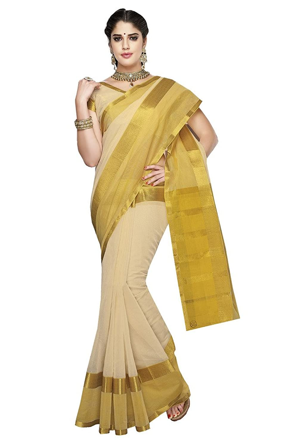Ishin Cotton Beige & Golden Solid Saree available at Amazon for Rs.3249