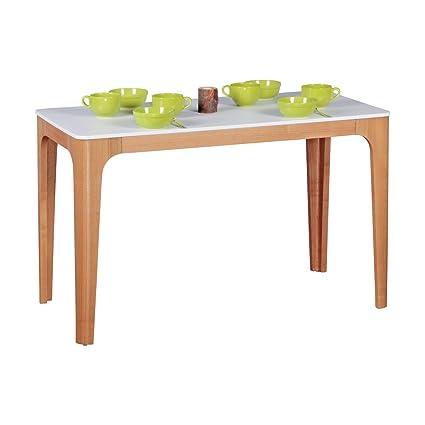 FineBuy table à manger 120 x bois MDF 76 x 60 cm | Table à manger avec table en blanc | Robuste table de cuisine dans le style rétro | Table en bois design scandinave | Base en placage de frêne
