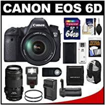 Canon EOS 6D Digital SLR Camera Body with EF 24-105mm L IS USM & 70-300mm IS Lens + 64GB Card + Backpack + LED Flash + Grip + Battery & Charger Kit