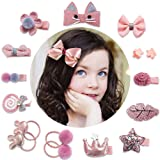 Baby Girls Hair Accesseries Set - 18 pcs Clips Hair Tie Claw Clip Bows Barrettes Hairpins Set with Hanger Ropes Holder Boutique Gift Box for Girl Teens Kids Babies Toddlers (Color: Pink, Tamaño: 1Box)
