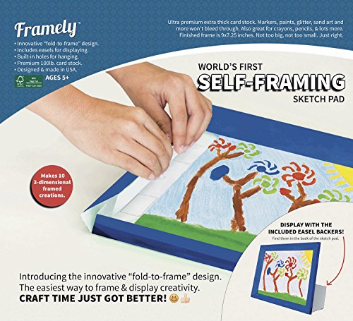 Worlds First Self-Framing Sketch Pad. Ultra Premium Extra Thick Card-Stock Sheets That Won't Bleed Through. Makes 10 Durable 3-Dimensional Artwork Frames with Wall Mounts and Easels. (Paper Easel Fold Display Books compare prices)