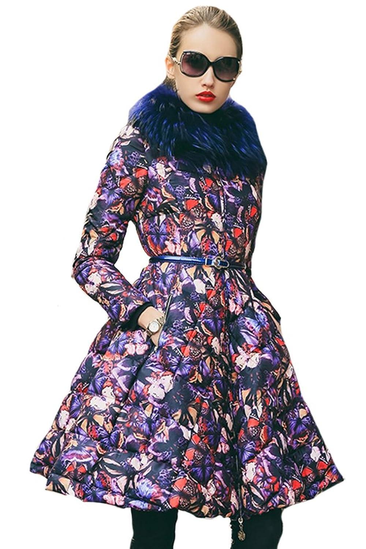queenshiny Damen Lange Daunenjacke Mantel Jacke mit Waschbär Pelz Kragen Drucken Mode Winter günstig kaufen