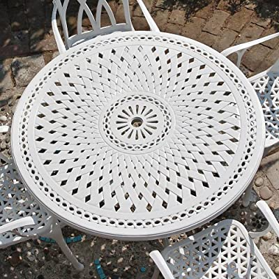 Lazy Susan Furniture - Alice 120cm Round 4 Seater Cast Aluminium Furniture Set With April Chairs