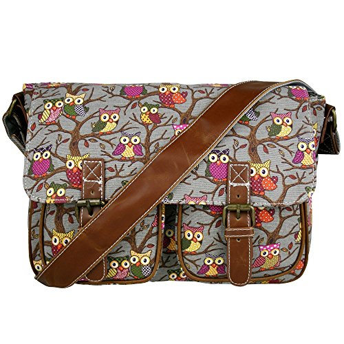 Miss Lulu Womens Canvas Satchel Bag Owl Grey