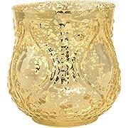 Luna Bazaar Vintage Mercury Glass Vase (4-Inch, Rose Design, Large Nouveau Motif, Gold) - Decorative Flower Vase - For Home Decor, Party Decorations, and Wedding Centerpieces