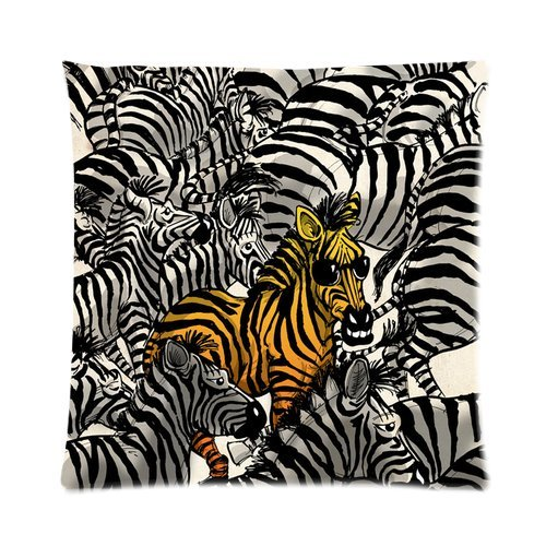 Generic Custom Grey And Yellow Zebras Printed Zippered Pillowcase Cushion Case 16*16(Two Sides) front-928820