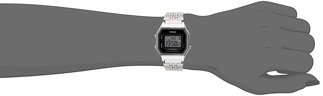 Casio Ladies Mid-Size Silver Tone Digital Retro Watch LA-680WA-1DF 1