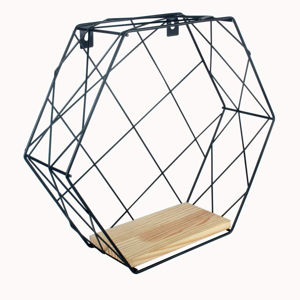 Growsun Floating Shelves Kitchen Hexagon Metal Wall-Mounted Storage Display Shelf with Wooden Bracket,3 Pack