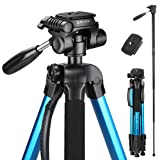 Victiv 72-inch Camera Tripod Aluminum T72 Max Height 182cm- Lightweight Tripod & Monopod Compact for Travel with 3-way Swivel Head and 2 Quick Release Plates for Canon Nikon DSLR Video Shooting - Blue (Color: Blue)