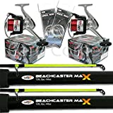2 x 2pc12ft 4-6oz Beachcaster Rods Sea Fishing Reels Loaded Line Combo Setup