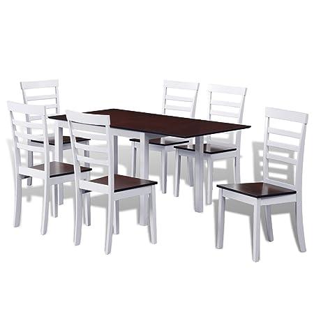 Anself 7 Teilige Essgruppen Auszugstisch aus Holz mit 6 Stuhlen Braun und Weiß