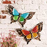 Stained Glass Butterfly Wall Art - Set Of 2